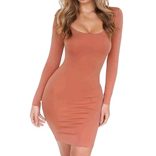 Allence Damen Mode Solid Kurzarm Dünnes Kleid Bodycon Midikleid