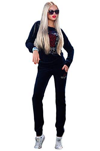 Selente #Fashionista Tuta da Ginnastica Donna Homewear Completo Sportivo Felpa e Pantalone, Blu Scuro, M