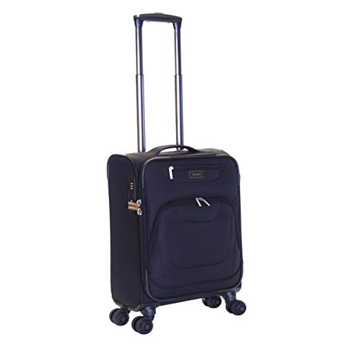 Karabar Cabin Carry-on Hand Luggage Suitcase Bag Lightweight 55 cm 2.5 kg 40 litres Soft Shell with 4 Spinner Wheels and Integrated TSA Number Lock, Mayfair Black