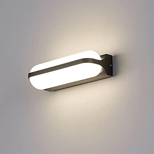 HAOFU 24W Lampada da Parete per esterno,Applique da Parete Impermeabile IP65 Lampada Muro in Alluminio+acrilico,4000K Bianco naturale,nero