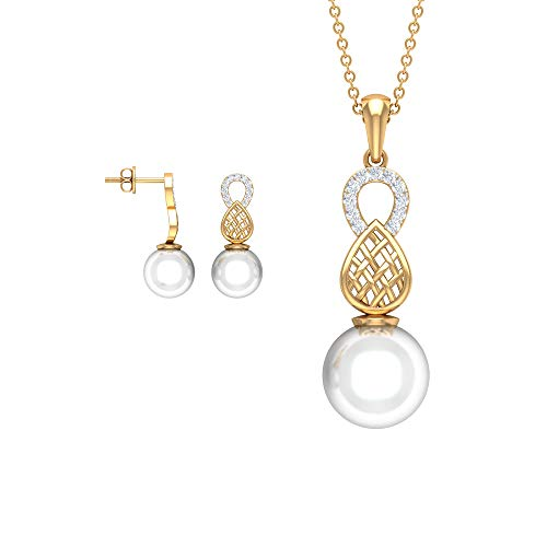16.19 CT Pearl Diamond Necklace Set with Earring, Unique Freshwater Pearl Drop Earring Pendant, Gold Engraved Stacking Pendant, Wedding Bridal Pendant,18K Yellow Gold Without Chain