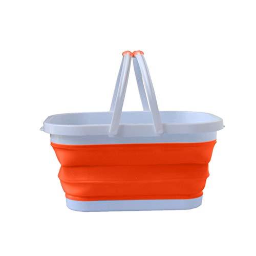 Fahooj picknickkorb faltbaren einkaufskorb, Multifunktionale faltbaren Einkaufskorb, Multifunktionsklappbarer Einkaufskorb Faltbarer Silikon Plastikaufbewahrungskorb (Orange, 37x27x19cm)