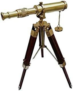 Siddhivinayak Overseas Vintage Brass Telescope on Wooden Tripod Stand Nautical Beautiful Spyglass