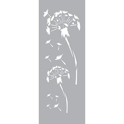 GRAINE CREATIVE 226049 Pochoir Décor 15 x 40 Fleurs de Pissenlits, Plastique, Gris, 15,5 x 0,1 x 47,5 cm