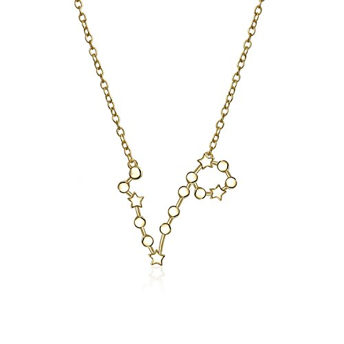 Astro Astrologie Sternzeichen Fische Sternbild Sterne Halskette Für Damen Jugendlich 14Kt Vergoldet Sterling Silber
