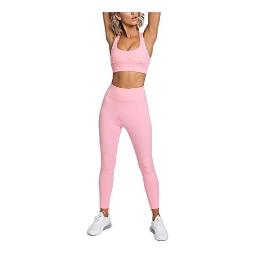 XCZW Yfa12 Color Puro Ropa de Yoga de la Espalda de Las Mujeres Hebilla de la Espalda Fitness Sports Traje de Cintura Alta Pantalones Chaleco Mujeres (Color : B, Size : XL)