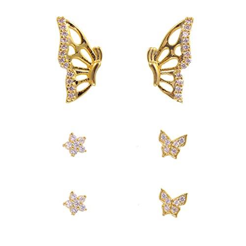 Pendientes de tuerca de mariposa para mujer, estilo vintage, de metal dorado, de estilo vintage, joyería,