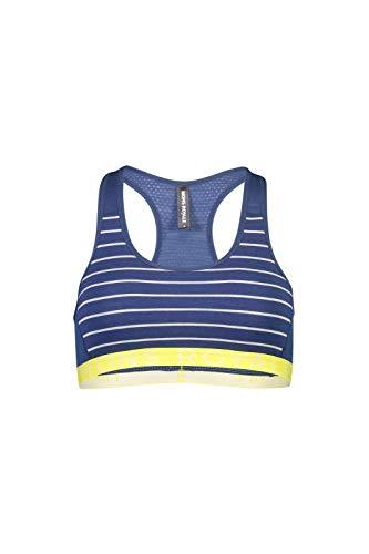 Mons Royale Merino W Sierra Sports Bra Gestreift-Blau-Gelb-Weiß, Damen Merino Sport-BH, Größe L - Farbe Ink Stripe