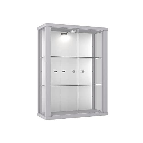 K-Möbel Glasvitrine in Silber (80x60x25 cm) mit 2 höhenverstellbaren Glasböden aus ESG, LED und Spiegel; beleuchtet; perfekt für Sammler;