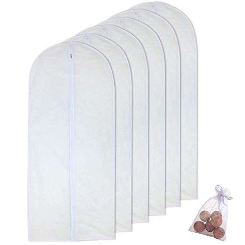 HomeClean Garment Bag for Long Dress 24'' x 60'' Garment Bags White Breathable Full Zipper Dust Cover for Clothes Storage Closet Pack of 6
