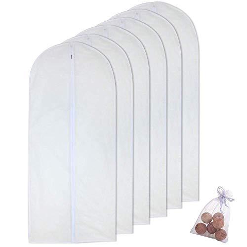 Bolsa de ropa para vestido largo de 60 x 152 cm, color blanco, transpirable, con cremallera, funda antipolvo para almacenamiento de ropa, paquete de 6
