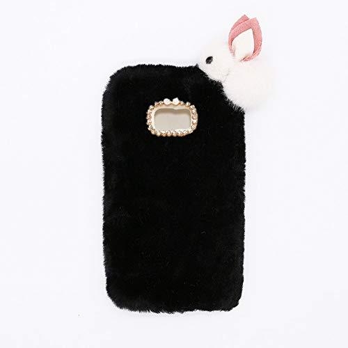 YHY Lindo Conejito para Samsung Galaxy S7 Edge Elegante Funda Peluda de Silicona Teléfono Móvil de TPU Negro