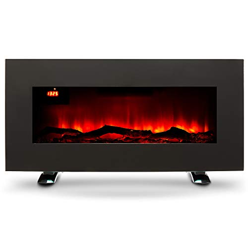 CO-Z Elektrokamin 85cm Kaminofen Elektrischer Wandkamin 900W/1800W mit Heizung, 3 Flammeneffekte der Helligkeit, Dekokamin mit Fernbedienung für Wanddekoration (Flachbildschirm)