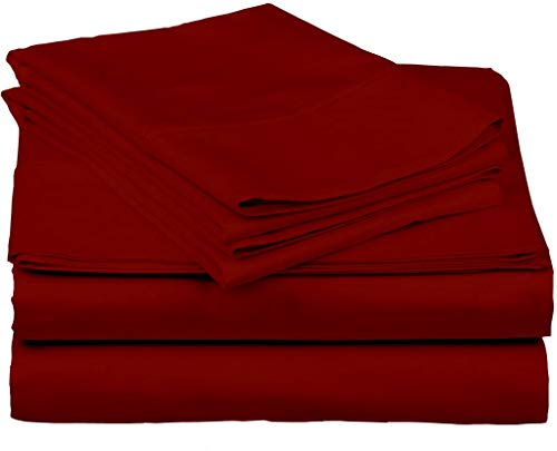 800 Thread Count Hypoallergenic Soft 4-Pieces Bed Sheet Set | Single Ply - Sateen Weave Natural Cotton | Fits Upto 18'' Deep Pocket, (Twin XL 39x80, Burgundy)