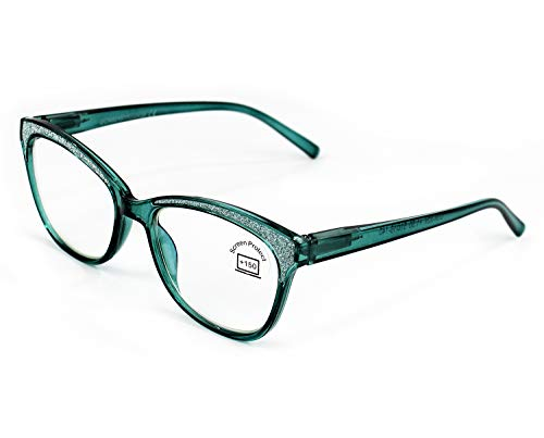 Gafas Lectura Protección Anti Luz Azul y Fatiga, Graduadas Dioptrías +1.00 hasta +4.00, con Montura de Pasta, Bisagras de Resorte, Para Leer, Unisex (+350, 924 verde)