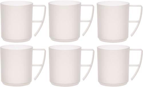 idea-station NEO Kunststoff-Tassen 6 Stück, 350 ml, klar, Griff, mehrweg, bruchsicher, Kaffee-Becher, Kaffee-Tasse, Kinder-Tasse, Kinder-Becher, Party-Geschirr, Camping-Geschirr