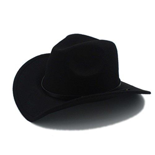 IWGR Männer Western Cowboy Hut Für Gentleman Cowgirl Jazz Church Cap Mit Leder Toca Sombrero Cap Resistol Cowboy Hüte (Farbe : 1, Größe : 57-58CM)