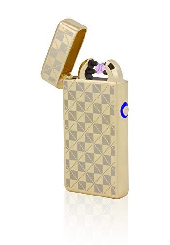 TESLA Lighter TESLA Lighter T08 Lichtbogen Feuerzeug, Plasma Double-Arc, elektronisch wiederaufladbar, aufladbar mit Strom per USB, ohne Gas und Benzin, mit Ladekabel, in edler Geschenkverpackung, kariert Gold Gold
