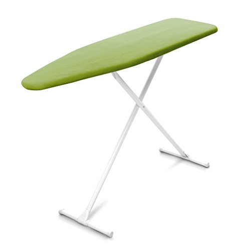 Homz T-Leg Adjustable Height Foam Pad Ironing Board with Cotton Cover, Green...