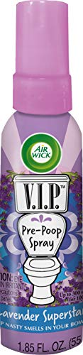 Air Wick V.I.P. Pre-Poop Toilet Spray, Up to 100 uses, Contains Essential Oils, Lavender Superstar Scent, Travel size, 1.85 oz, Holiday Gifts, White Elephant gifts, Stocking Stuffers