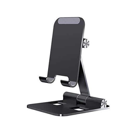 FanLe Soporte ajustable para teléfono celular 3 en 1 plegable, soporte portátil de aluminio con base antideslizante y cómodo puerto de carga compatible con iPad, tabletas, MacBook y portátiles