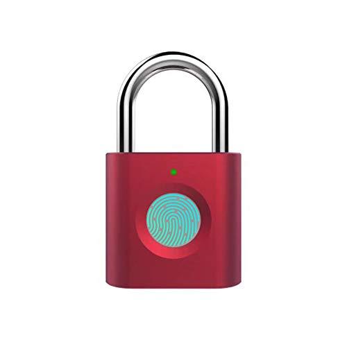 HINMAY - Candado de huella digital inteligente USB recargable IP65, resistente al agua, para puerta al aire libre, gimnasio, escuela, maletas y maleta, puede almacenar 20 juegos de huellas dactilares