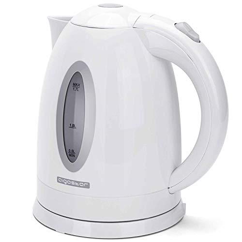 Aigostar kabelloser Wasserkocher, schnelles Aufheizen, 2200W, 1,7 Liter, Abschaltautomatik mit Kochschutz, BPA-frei, Weiß.