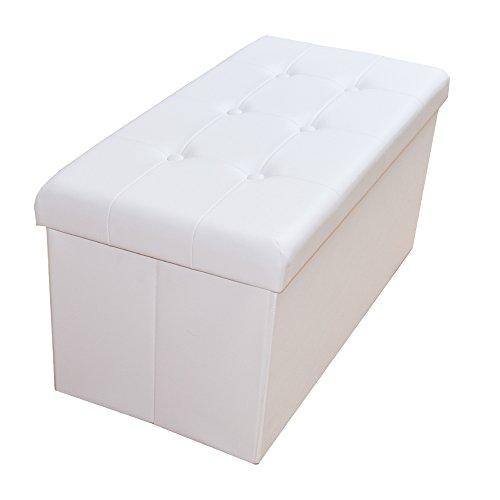 Style home Sitzbank Sitzhocker Aufbewahrungsbox mit Stauraum faltbar belastbar bis 300 kg Kunstleder 76 x 38 x 38 cm (Weiß)