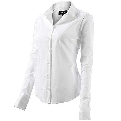 FLY HAWK Bluse Hemdbluse Damen Hemd Basic Kent-Kragen Elegant OL Work Slim Fit Langarm Stretch Formelle Hemden,Weiß, Größe 48, Hersteller - 20