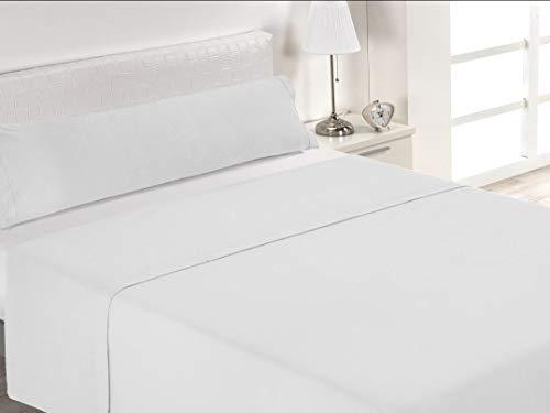 DESING Power-Home: Juego sábanas Blanco Puro Super Lisa, Completo 3 Piezas Verano. (Puro-Blanco, 135_x_190/200cm)