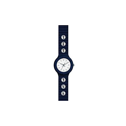 Orologio HIP HOP donna CRYSTAL quadrante bianco e cinturino in silicone, glam blu, movimento SOLO TEMPO - 3H QUARZO