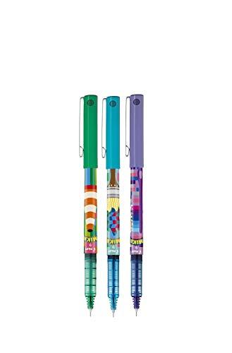 Pilot V5 MIKA Design Hi-Tecpoint - Bolígrafos de punta redonda (verde/violeta/azul claro)