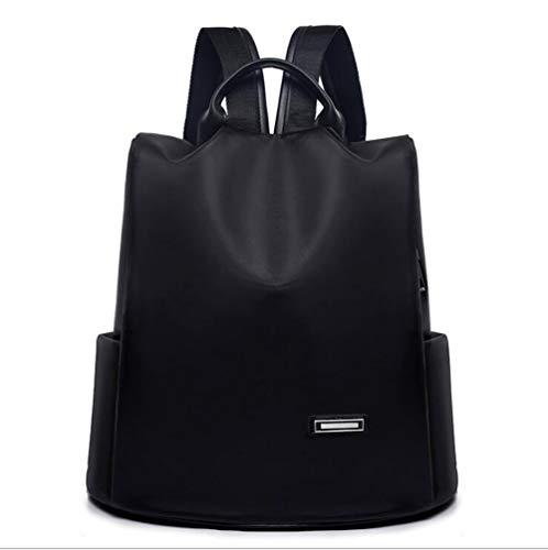 FENGFENGGUO Rucksack, 2019 Neue Damen Rucksack Trend koreanische Version der einfachen Umhängetasche Oxford Tuch Anti-Theft Waterproof Solid Color Handtasche,Black