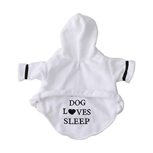 POPETPOP - Albornoz para mascotas, muy absorbente, toalla de baño para perro, pijama, vestido de noche con capucha, talla XS (blanco)