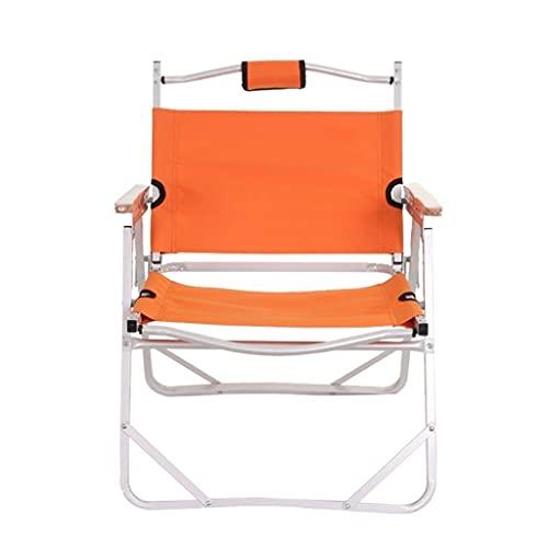 Krzesło składane na zewnątrz Oxford Tkanina Krzesło składane,Przenośny Księżyc Dyrektor Krzesełko,Lokal aluminiowy Krzesełko na Plażowe Kemping Sprzęt Outdoorowy Przenośne krzesło (Color : Orange)