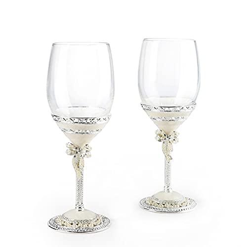 MQH Copas de Vino Copas de Vino Conjunto de 2 - Copas de Vino de Cristal soplado a Mano - Copas Modernas de Vino de Tallo Largo para Boda, Navidad, degustación de vinos Copas para Vino