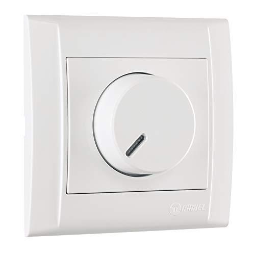 Defne | Dimmer, voor NV-lampen met elektronische transformator (fasenuitsnijding) + frame, VDE-gecertificeerd, inbouw, in wit