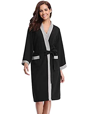 Abollria Unisex Kimono Robes Waffle Cotton Bathrobe for Women and Men Spa Robe Lightweight Sleepwear