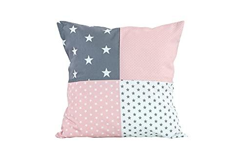 Funda patchwork para cojín de ULLENBOOM ® con rosa gris (funda para cojín de 40x40 cm; 100% algodón; ideal como cojín decorativo para la habitación de los niños)
