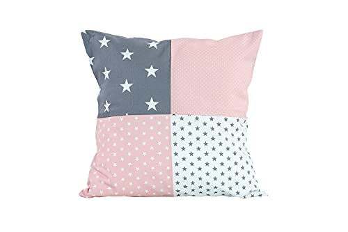 Funda patchwork para cojín de ULLENBOOM  con rosa gris (funda para cojín de 40x40 cm; 100% algodón; ideal como cojín decorativo para la habitación de los niños)