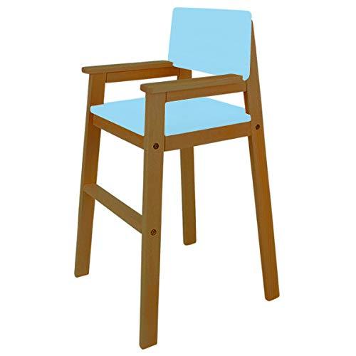 Madyes kinderstoel hoge stoel massief hout beuken kleur teak. Modern design. Trapstoel beuken voor eettafel, kinderhoge stoel voor kinderen, stabiel en onderhoudsvriendelijk, vele kleuren mogelijk lichtblauw