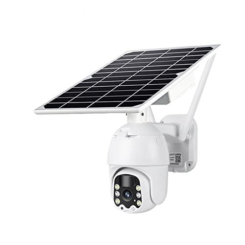 WUIO Cámara De Seguridad Solar para Exteriores, Cámara De Vigilancia IP Detección De PIR Intercomunicador De Voz Bidireccional 1080P 4G Cámara De Seguridad para Exteriores PTZ De Energía Solar