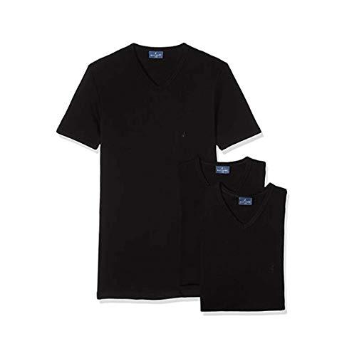 Navigare N. 3 T-Shirt Mezza Manica Scollo A V Uomo Cotone Interlock GARZATO - Art. 112 Disponibile nei Colori Bianco - Nero - Ass.to (Nero/Navy/Grigio sc.)