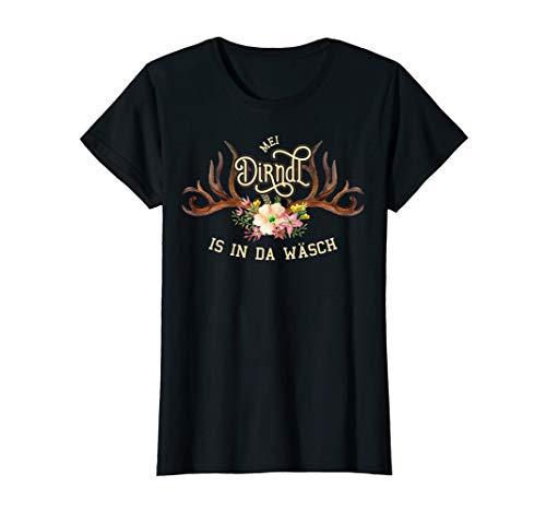 Damen Dirndl T-Shirt mit lustigem Spruch Mei Dirndl is in da Wäsch T-Shirt