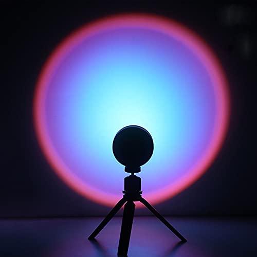 Lámpara De Iluminación De Estado De ánimo Visual Romántica Rotación De 180 Grados Lámpara De Proyección De Puesta De Sol Lámparas De Pie De Dormitorio Decoración De Sala De Estar Blue Purple