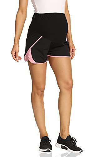 Kegiani Pantalones cortos de maternidad para mujer, cómodos, cortos y de secado rápido, pantalones cortos de deporte, para correr, fitness, entrenamiento para verano 01 negro M