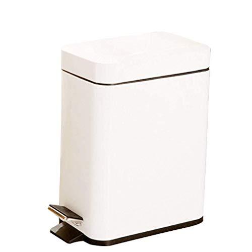 LZZB Juego Combinado de papeleras, Papelera de Reciclaje, Pedales Familiares rectangulares, Papelera silenciosa para Cocina, Papelera para Dormitorio, Papelera Blanca de 5 l 10 l (tamaño: 5 l)