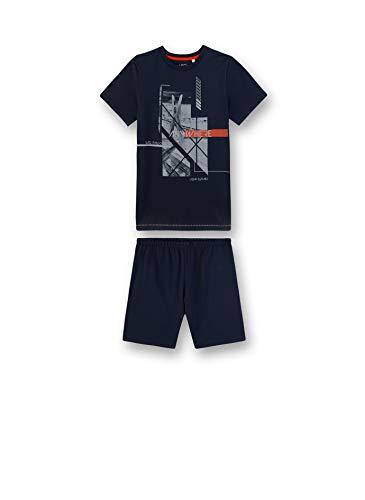 Sanetta Jungen Pyjama kurz Zweiteiliger Schlafanzug, blau 5961, (Herstellergröße:152)