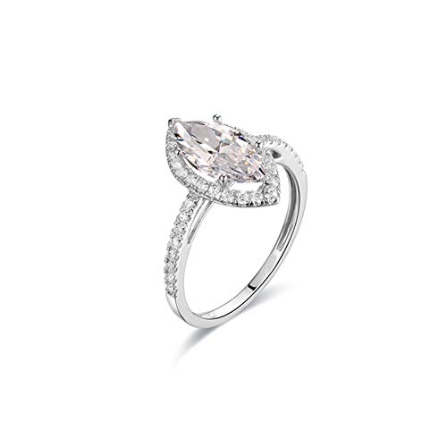 Amody White Gold Ring for Women 14K, Wedding Band for Women Eternity Marquise Shape with Moissanite Size N 1/2