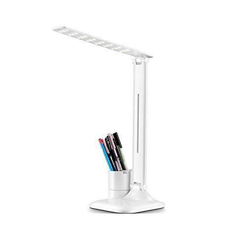 FDSFD Blanco, lámpara de Escritorio LED, lámpara de Escritorio de protección Ocular, Regulable con Carga USB, lámpara de Oficina, Estudio para Estudiantes, lámpara de Dormitorio, lámpara